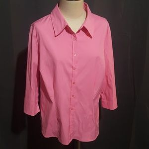 Hot pink apt 9 blouse button up size 1x
